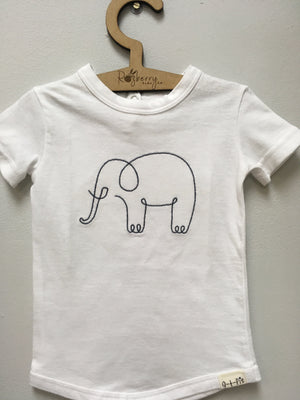 Cotton Knit T-shirt + embroidery - Razberry Kids Co