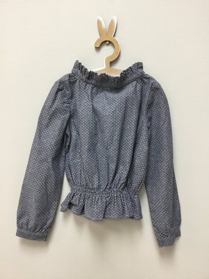 Pindot denim smock blouse - Razberry Kids Co