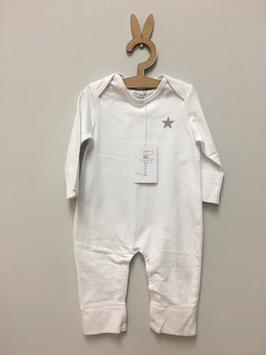 White unbrushed fleeced footless onesie - Razberry Kids Co