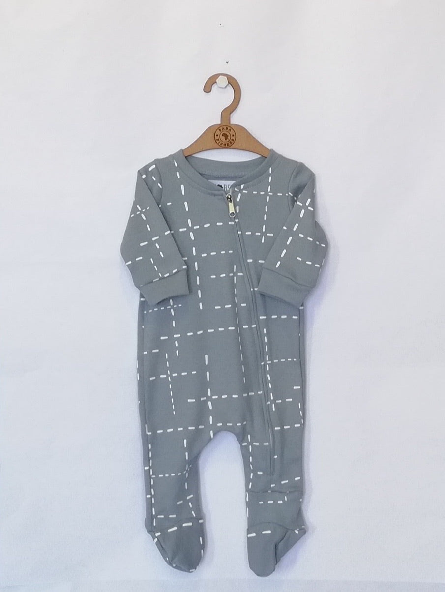 Baba Fishees Romper - Blue Dashed Lines