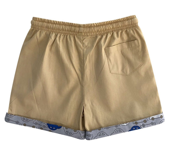 Boys shorts - khaki with car turn up - Razberry Kids Co