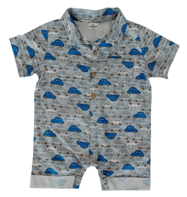 Collared Onesie - cars on grey - Razberry Kids Co