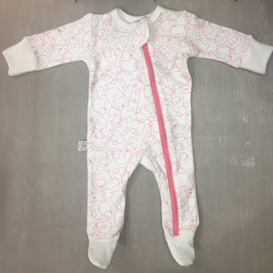 Pink Polar Bear Zip Babygrow - Razberry Kids Co