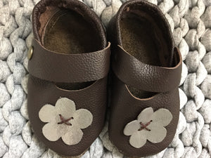 Shoe - Choc + Silver Flower - Razberry Kids Co