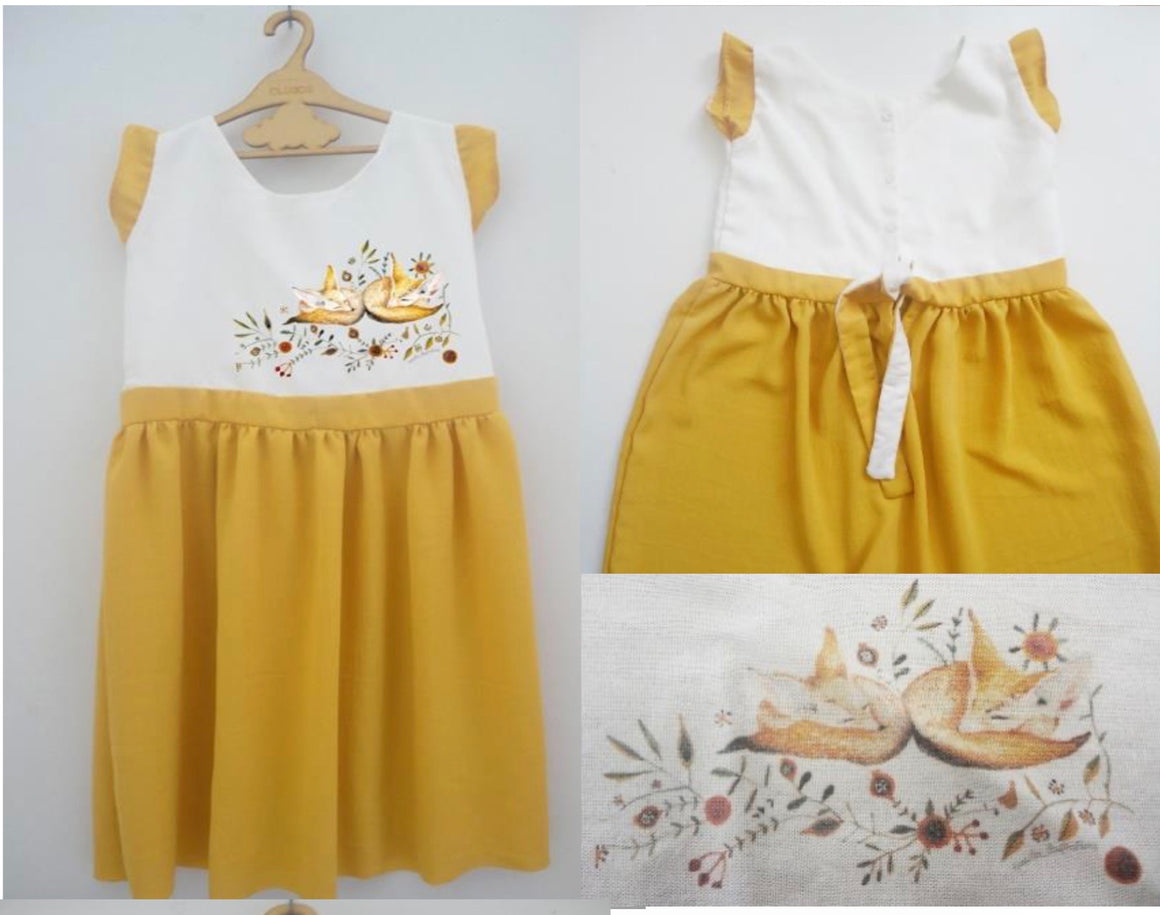Frieda Fox  Dress - Mustard - Razberry Kids Co