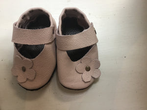 Leather Baby Shoes - Maryjanes - Pink +Pink flower - Razberry Kids Co