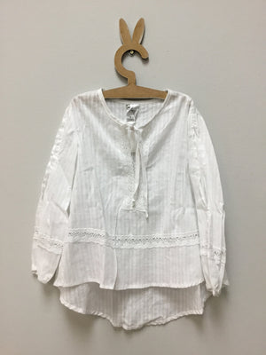 White Dobby split sleeve blouse - Razberry Kids Co