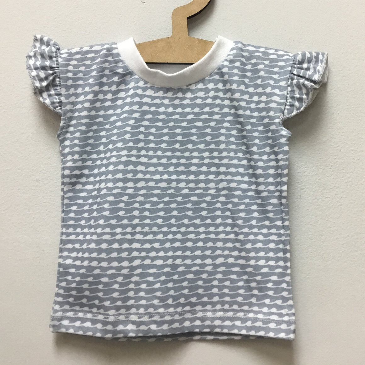 Blue and Pink wave print  - ruffle short sleeve tee - Baba Fishees - Razberry Kids Co