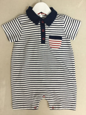 navy / white stripe shortigrow - Razberry Kids Co