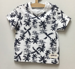 T-Shirt - S/Sleeve Palm Tree Print - Baba Fishees - Razberry Kids Co