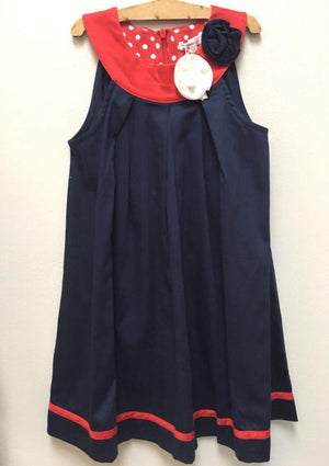 Navy Sateen dress with corsage detail - Razberry Kids Co
