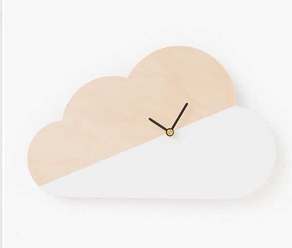 Wooden cloud Wall Clock Clock simply child