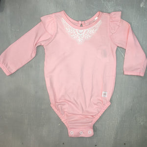 Salmon pink popper vest + lace trim - Razberry Kids Co