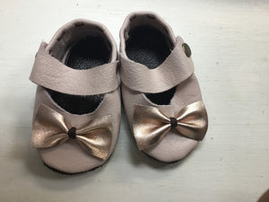 Leather Maryjanes - Pink + Rosegold Bow - Razberry Kids Co