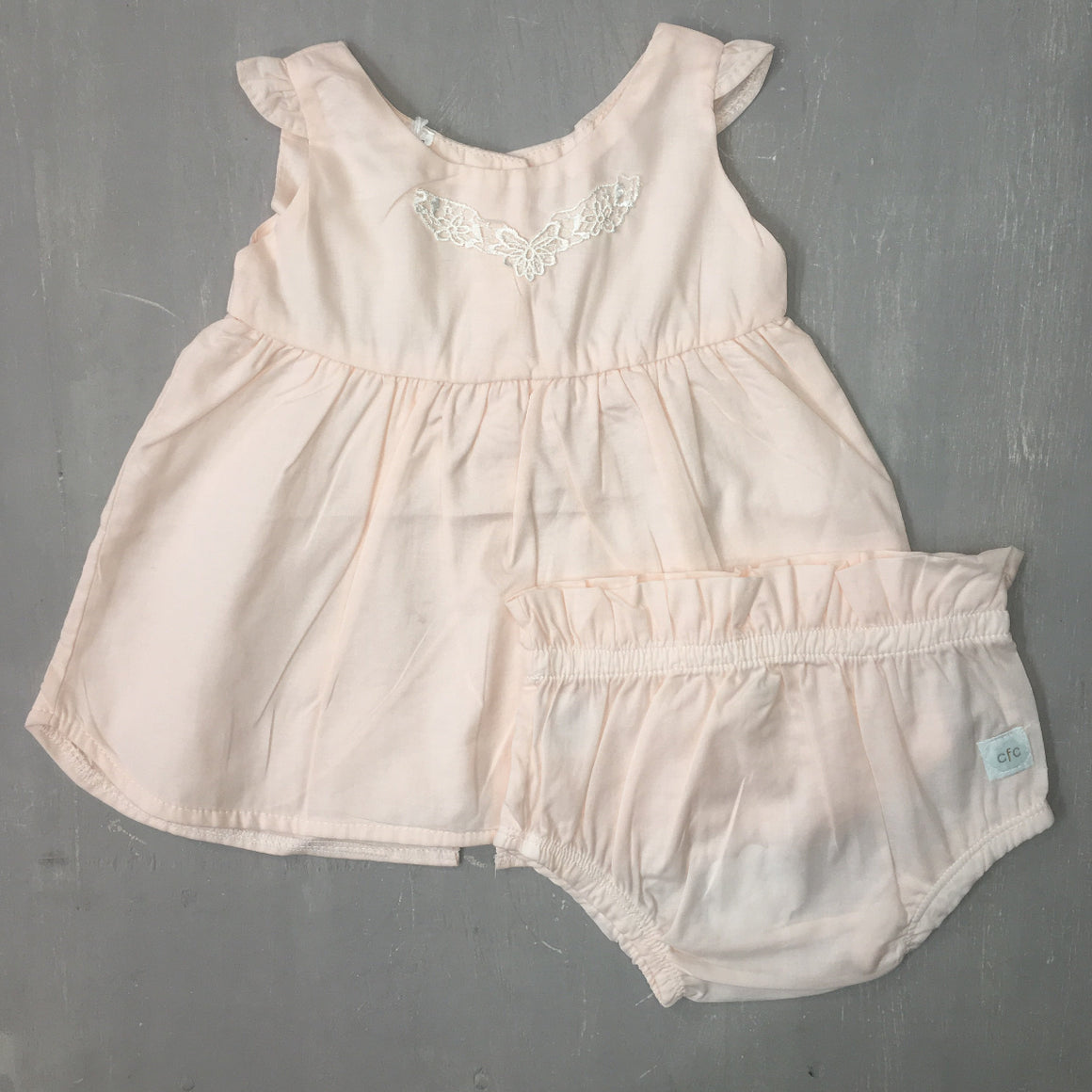 CFC Peach Dress + Bloomers - Razberry Kids Co