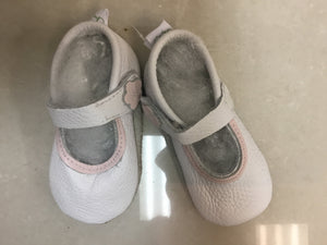 White leather Mary-jane's with pink trim - Razberry Kids Co