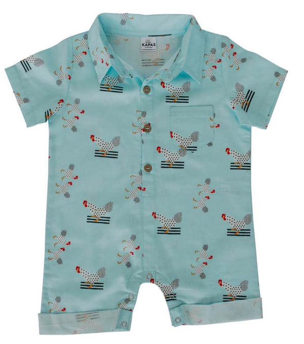Collared Onesie - Turquoise chickens - Razberry Kids Co