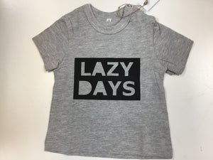 "T-shirt - S/Sleeve Grey ""Lazy Days""- Baba Fishees - Razberry Kids Co"