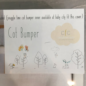 Sketched Bunnies Print Cot Bumper Cover - Razberry Kids Co