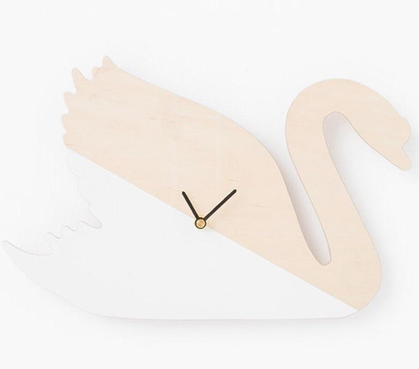 Wooden Swan Wall Clock Clock simply child