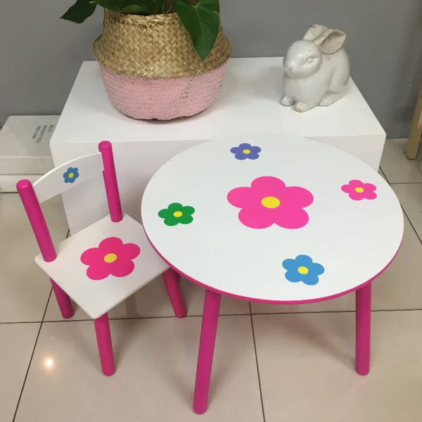 Wooden Flower Table + Stool