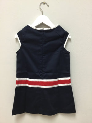 Navy Sateen Dress + red bow - Razberry Kids Co