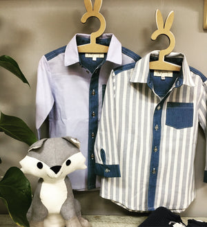 Boys Denim & Plain Blue Colourblock shirt - Razberry Kids Co