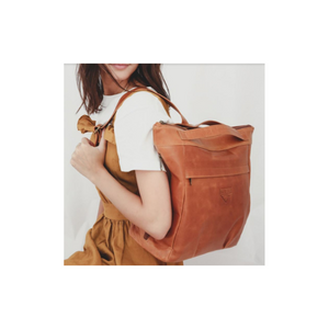 Leather baby Bag - leather nappy backpack - Razberry Kids