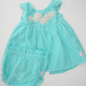 CFC Turquoise shirt Dress + Bloomers - Razberry Kids Co