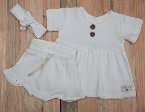 Dress + Frill Shorts & Headband -  100% Cotton Rib