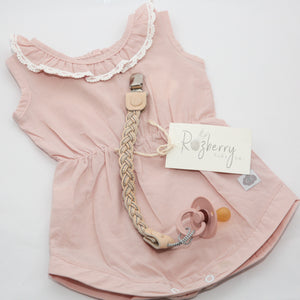 Vintage Romper with lace detail - Blush