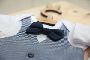 Navy/ White Check Waistcoat & Bowtie - Razberry Kids Co