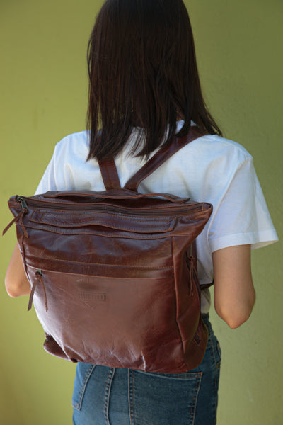 Leather Nappy Backpack - Leather Baby Bag