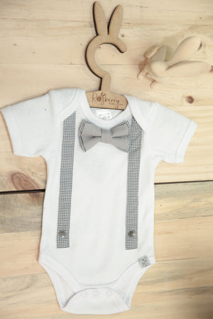 Grey Check Suspenders & Bowtie - Razberry Kids Co