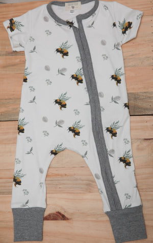 Short Sleeved Zip Onesies --- Grey Bees