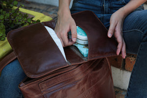 Leather nappy clutch - nappy wallet. Razberry Kids