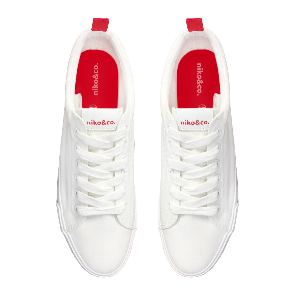 classic canvas sneakers white & red