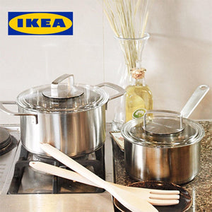 IKEA Stainless Steel Pot Set with Glass Lids