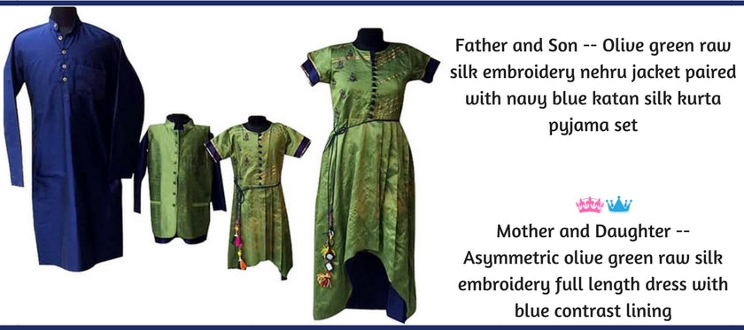 Family Collection,Mother Father and Kids Coordinated Dresses