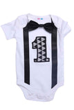 Black And White First Birthday Bodysuit