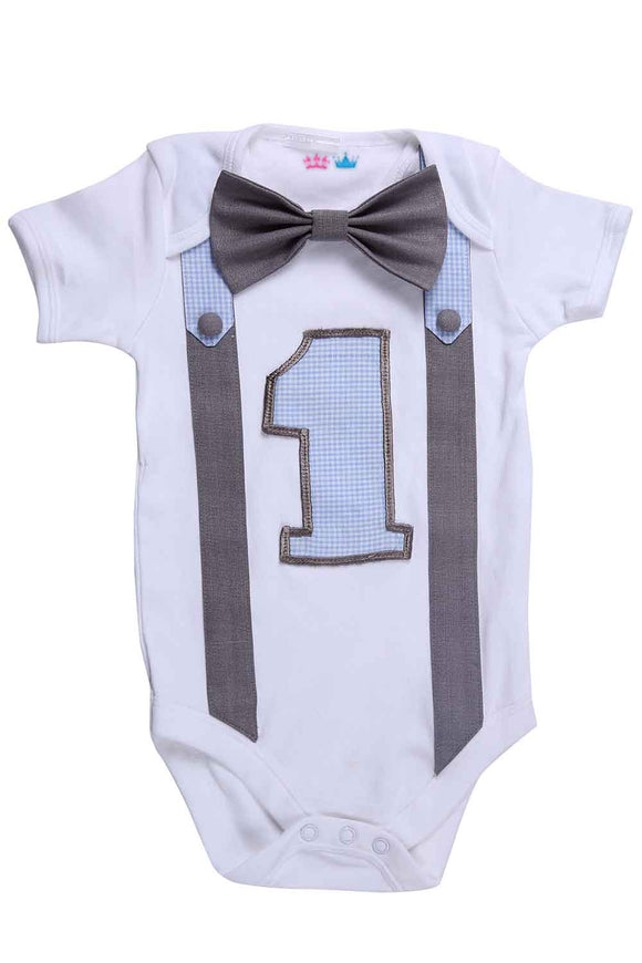 Blue And Grey First Birthday Bodysuit