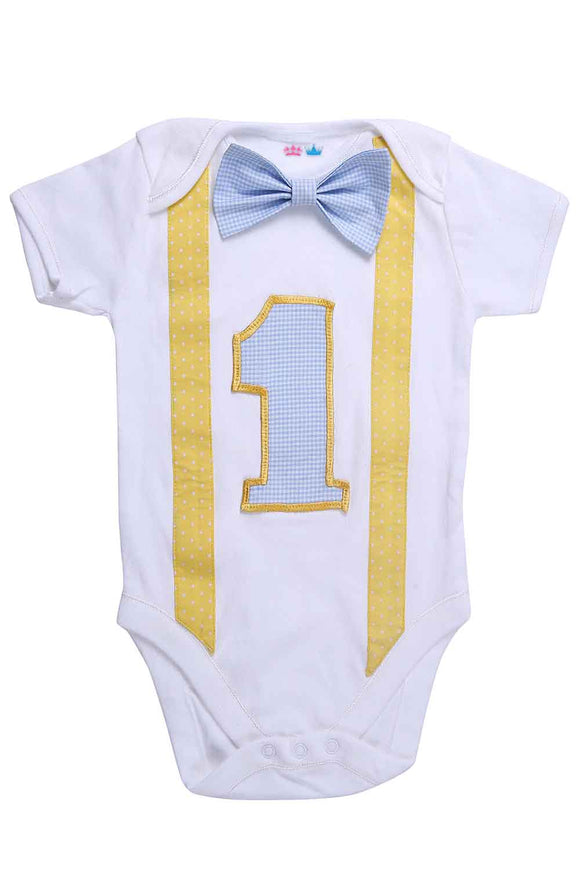 Blue And Yellow First Birthday Bodysuit