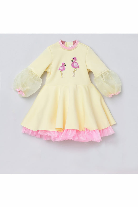 Flamingo embroidered puff sleeves dress! Designer Dresses for Girls, Designer Dresses for Baby Girls, Designer Partywear Dresses for Girls, Party Dresses for Girls, Smart Partywear Dresses for Girls, Designer Party Dresses for Girls