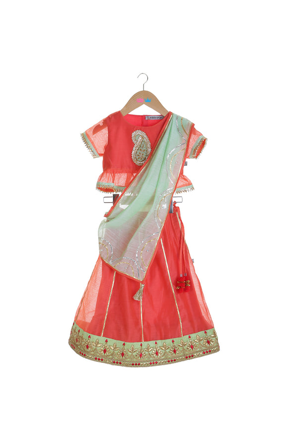 Organic Red Lehenga Peplum Choli with Green Dupatta