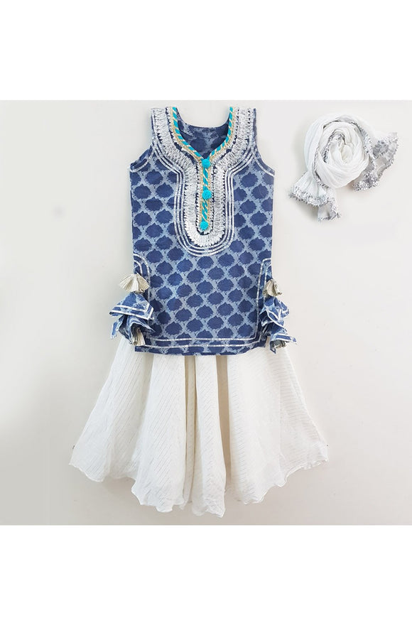 Blue block print top with white skirt! Get the Best Designer Lehenga Sets for Baby Girls, Designer Choli Ghagra Sets for Baby Girls, Designer Lehenga Choli Sets for Girls, Designer Lehenga Choli for kids, Lehenga for Girls, Ghagra for Girls, Ethnic wear for Girls, Indian Wear for Girls, Designer Ghagra for Kids
