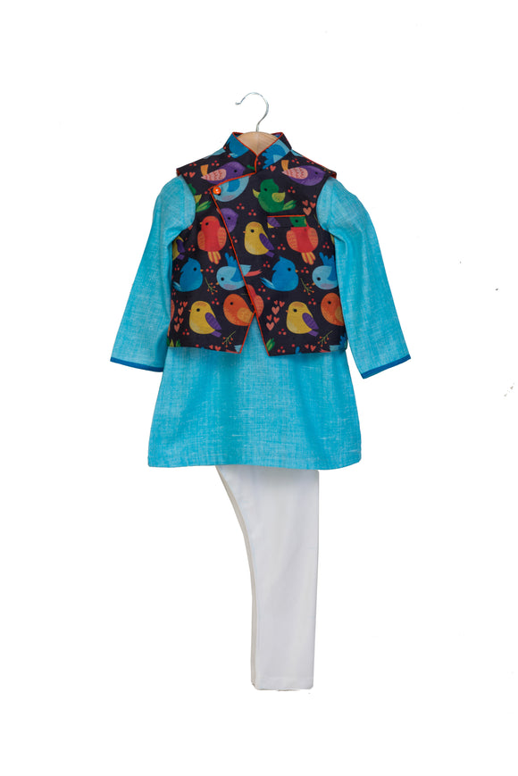 Bird Print Jacket with Blue Kurta and Churidar