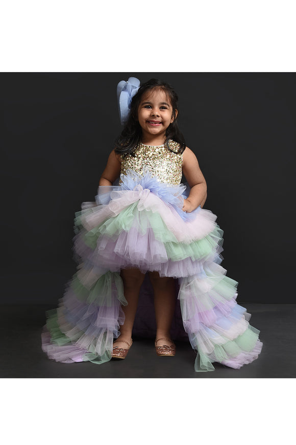 Multi color sequins embroidered high low gown! Partywear gowns for girls, designer gown for girls, Tutu gowns for girls, designer western gowns
