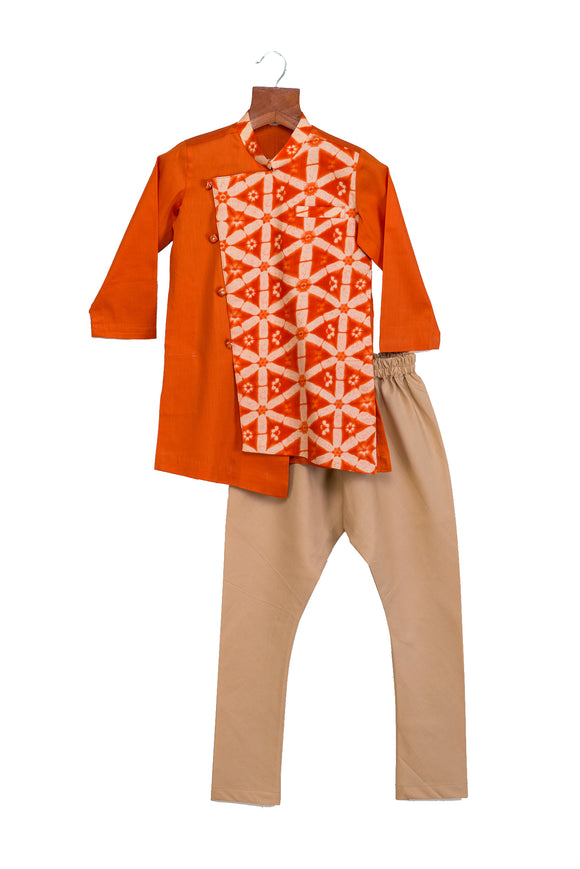 Orange printed Kurta with Churidar