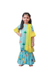 Blue and Yellow Printed Kurti Sharara Set