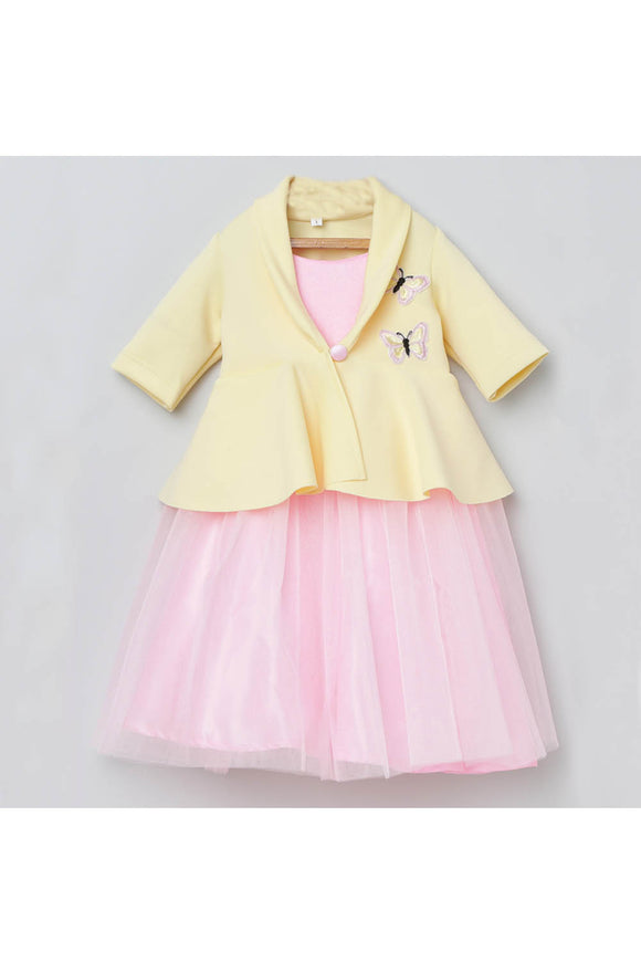 Yellow butterfly embroidered jacket with pink gown